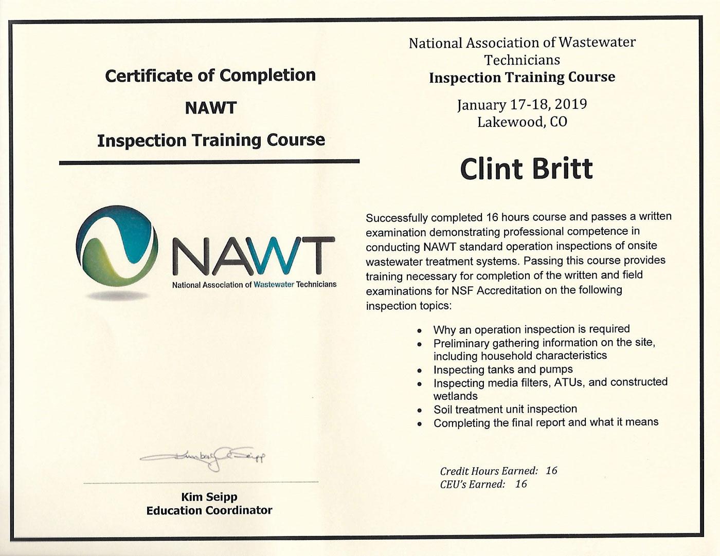 NAWT Inspector Training